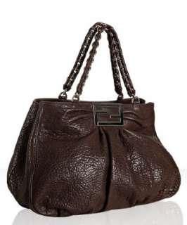 Fendi dark brown pebble leather chain large tote
