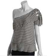 BCBGMAXAZRIA white and black striped silk tiered one shoulder blouse