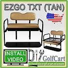 EZGO TXT Golf Cart Rear Flip Back Folding Seat Kit Diamond Plate Cargo