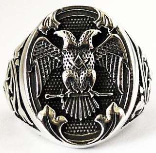 DOUBLE HEADED EAGLE EMPIRE STERLING SILVER RING Sz 9.25