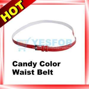 Women Skinny PU Leather Buckle Waist Belt Band Red New