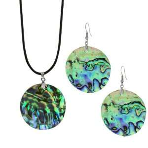 1 1/2 Multi Color Abalone Shell Inlay Pendant Earrings