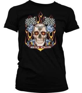 Wild Child Flame Skull Piston Junior Tees Girls T shirt