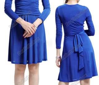 Princess Kate Pleated Waist Slim Long Sleeve Skirt Dress V Neck