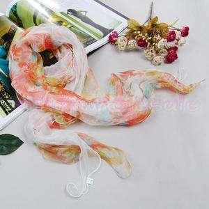 Women Soft Silk Scarf Shawl Wrap Multicolor 2 Layers