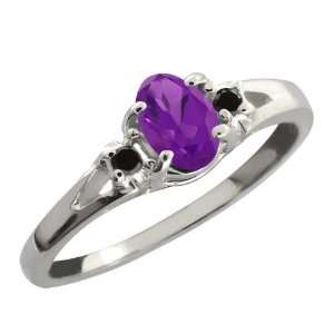 0.49 Ct Purple Oval Amethyst and Black Diamond Sterling
