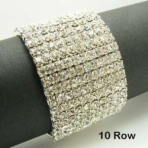 Row STREHCH Wedding Bridal AUSTRIA CRYSTAL Rhinestone Bangle BRACELET