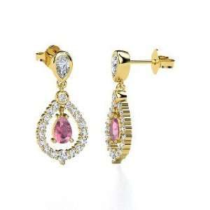 Kate Earrings, Pear Pink Tourmaline 14K Yellow Gold Earrings with