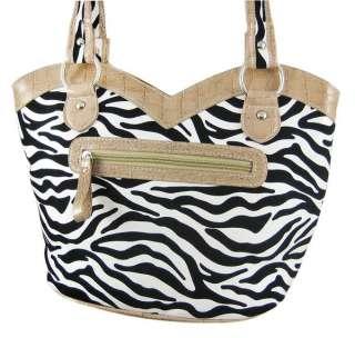 Zebra Print Rhinestone Cross Handbag Tan Trim