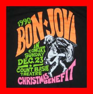 Vtg BON JOVI 1990 CHRISTMAS IN NEW JERSEY TOUR T SHIRT