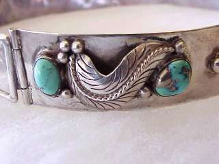 Vintage Navajo Morenci Turquoise Sterling Silver Hat Band Belt Style