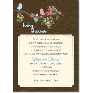 In the Nest Blue Baby Shower Invitations