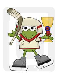 The hockey frog measures 6.5 x 8.75.
