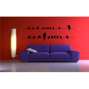 Removable Wall Decals  Birds on Wire Long