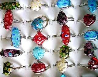 Lots 100Pcs Mixed Millefiori Glass Rings