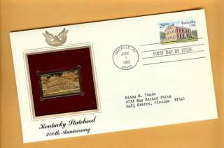 KENTUCKY 200th ANNIVERSARY 1992 22Kt Gold & Stamp FDC