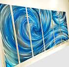 Modern Abstract Metal Wall Art Blue Black Painting Sculpture Home