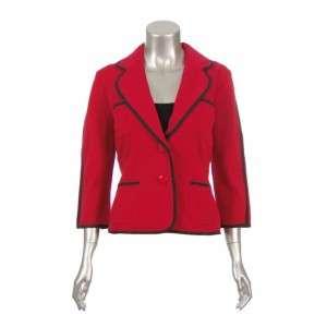 Sutton Studio Womens Red Double Knit Topper Blazer 3X