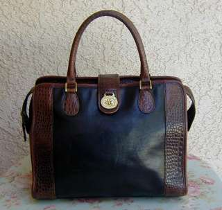 Large Brown Moc Croc & Black Leather BRAHMIN Tote Bag~Purse