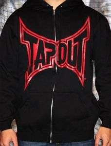 TapouT Mma Black with Red Sweatshirt College zip up Hoodie Hoody