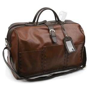 Mens Leather Travel Luggage Gym Shoulder Bag Tote 7023E