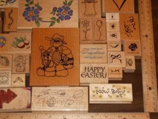 HUGE LOT *** 50+ ASSORTED WOOD MOUNTED RUBBER STAMPS (LOT W)