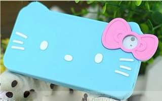 Skyblue Hello Kitty With Bow Silicone Soft Case Cover For i Phone 4 4G