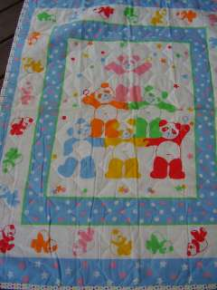 Baby Quilt Quilted Blanket Pastel Panda Teddy Bear Star
