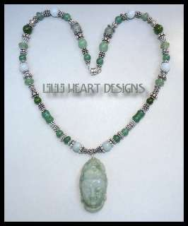 DESIGNER NECKLACE JADE QUAN YIN & JADE AND SILVER BEADS
