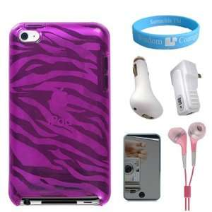 Scratch Proof Silicone Pink Zebra Case for iPod Touch 4G + Mirror