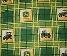 JOHN DEERE GREEN & YELLOW PLAID NURSE & VET SCRUB TOP