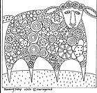 RUG HOOK PAPER PATTERN Blooming Sheep FOLK ART ABSTRACT UNIQUE MODERN