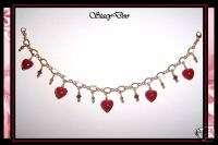 14k GENUINE MURANO GLASS HEART CHARM BRACELET (363)