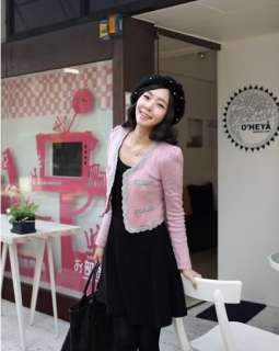 yrfashion Korea Fashion Women Lovely Embroidery Pink Wool Woolen Puff