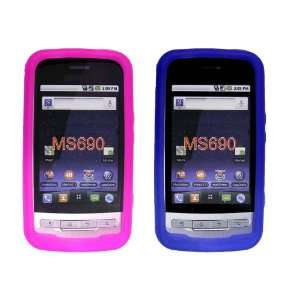 LG Optimus M690 Hot Pink and Blue Silicon Cases