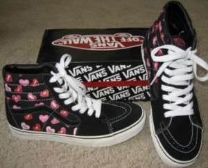VANS SHOES CANDY HEARTS BLACK 9.5 M 11 W SK8 HI SKATE