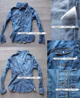 CJ135 women shirt DENIM BLUE cotton shirt button down