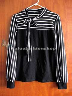 Korea Womens Stripe Bowknot Long Sleeve Career Vintage Blouse Lady T
