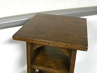 Carved Mission Oak Pedestal Bookcase Plant Stand