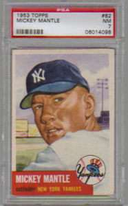 1953 Topps #82 Mickey Mantle Hall of Fame PSA 7 Near Mint Short Print