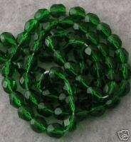 50 CZECH FIREPOLISHED 6mm EMERALD GREEN GLASS BEADS Lot