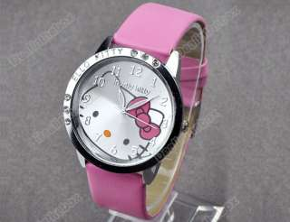 Ladies Fashion cute Lovely Kitty Crystal Girls Quartz Wrist Watch