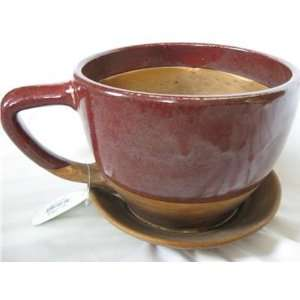 Oversized Red and Brown Teacup Coffee Cup Planter Patio