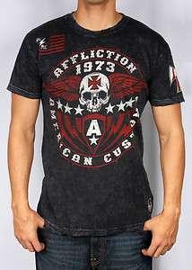 AFFLICTION MENS AMERICAN CUSTOMS IRON SHIELD TEE T SHIRT S M L XL XXL