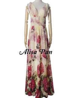 neck Chiffon Floral Printed Prom Dress 09638 610585946909