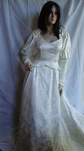 Vtg Renaissance Medieval Ivory Wedding Dress Pearl Trim House of