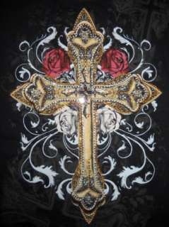 SEXY rhinestone CROSS & ROSES tattoo Long Sleeve T shirt top GOTHIC