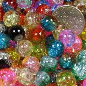 Mix 2 tone Crackle Lampwork Glass Round Beads 8mm ~ Jewelry Findings