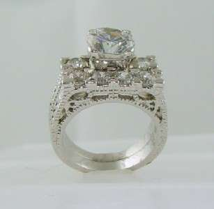 White Gold 925 Antique Estate Style Wedding Engagement Ring Set