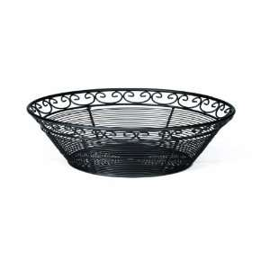 Tablecraft Black Powder Coated Mediterranean Metal Round Basket   12